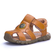 AFDSWG sandal girls summer 100% leather kids sandals boys yellow shoes for black princess  childre