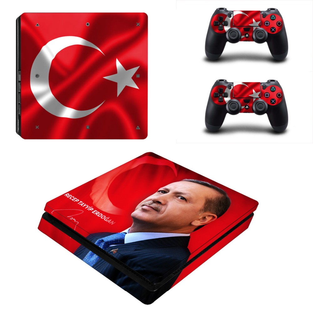 Skin for PS4 Slim + Controller Protective Decals For Sony Playstation 4 Slim For Dualshock 4 Turkey Recep Tayyip Erdogan Decal