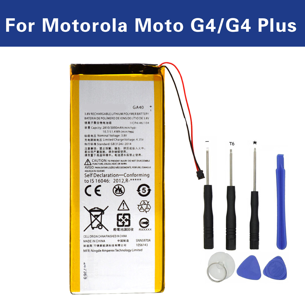 JAMEX GA40 For Motorola Moto G4/G4 Plus XT1625 XT1622 XT1644 XT1643 Replacement Battery SNN5970A +TrackingJAMEX GA40 For Motorola Moto G4/G4 Plus XT1625 XT1622 XT1644 XT1643 Replacement Battery SNN5970A +Tracking