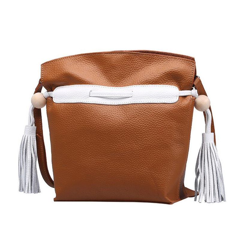 New Design women tassel shoulder bags Genuine Leather feminino composite bags Lichee Pattern lady bucket bag crosbody bag composite structures design safety and innovation