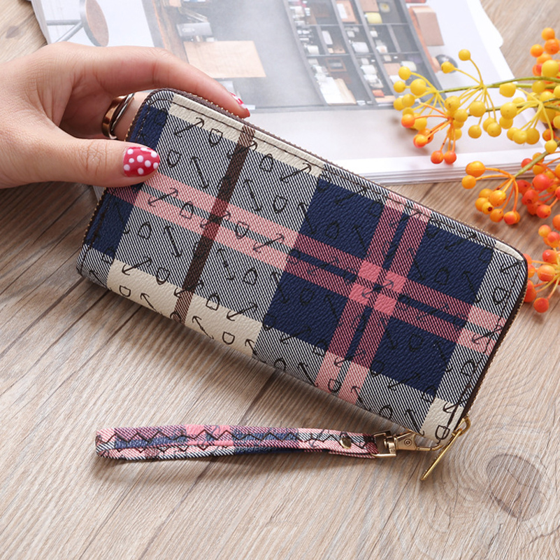 New 2018 Casual Fashion Women Wallets Brand Long PU Leather Wallet Ladies Double Zipper stripe Clutch Coin Purse Female ...
