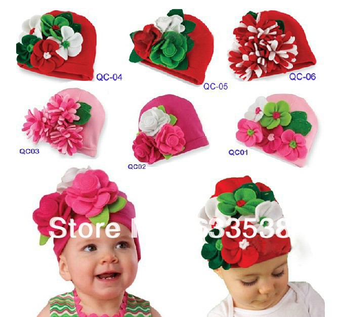 Retail & Hot Fashion Baby Christmas Hat With Flowers For Autumn Winter Kids Caps Beanies Hat Toddler Boys Girls Cap 008 fashion handpainted palm sea sailing pattern hot summer jazz hat for boys