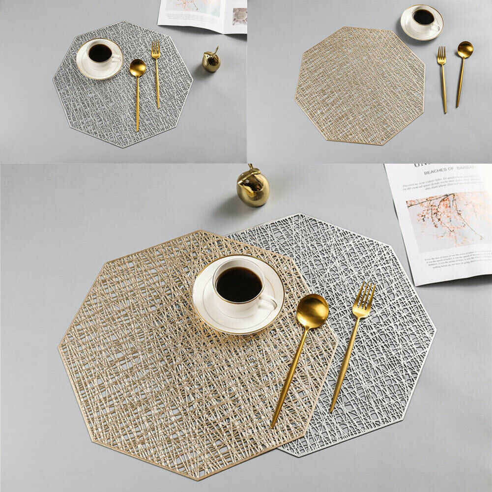 1Pc Non-slip Table Placemat PVC Plastic Coaster Insulation Pads Mats Home Decor Round/Rectangle Circle Placemats