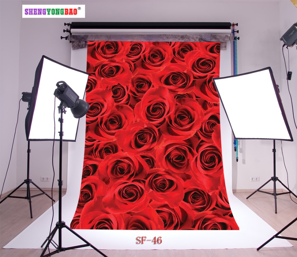 SHENGYONGBAO Art Cloth Custom Photography Backdrops Prop Valentine day rose floral floor theme Photo Studio Background SF 46 in Background from Consumer Electronics