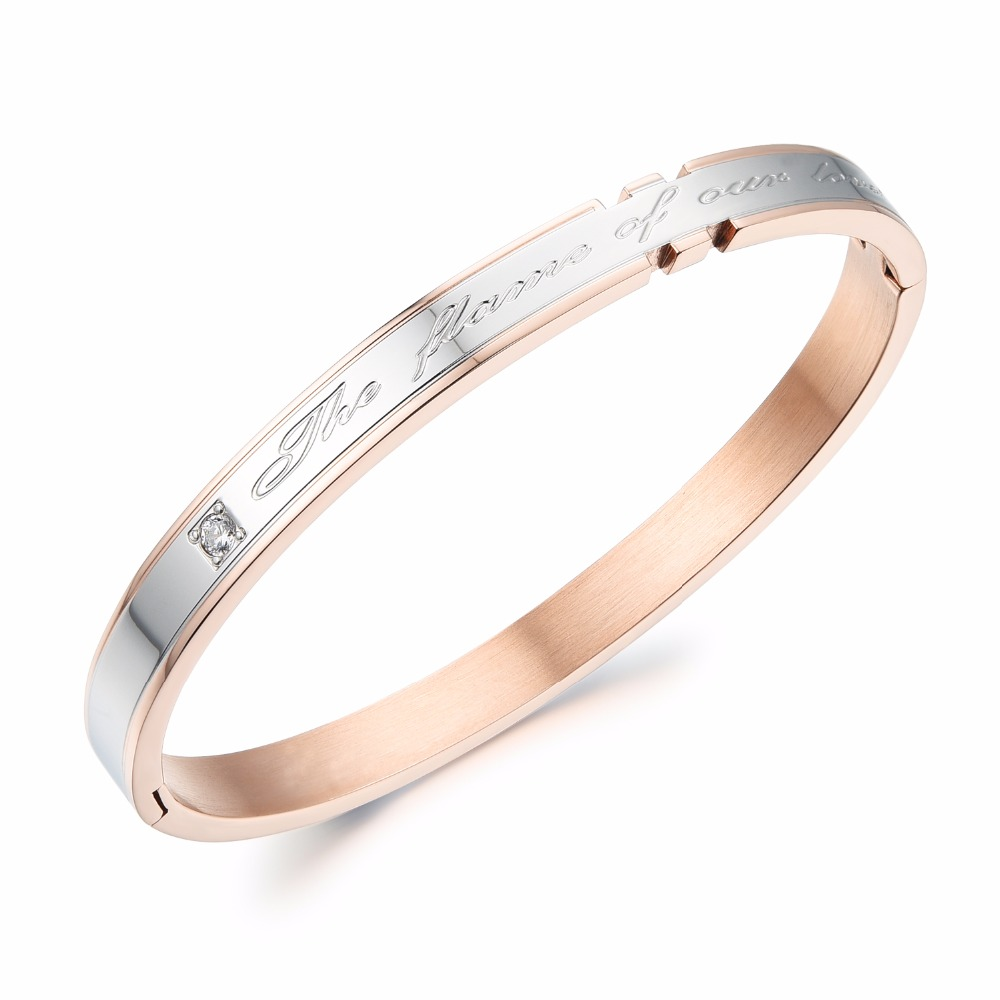 d0a020d7bdbac The Flame of Our Love Rose gold Color Stainless Steel Couple Love ...