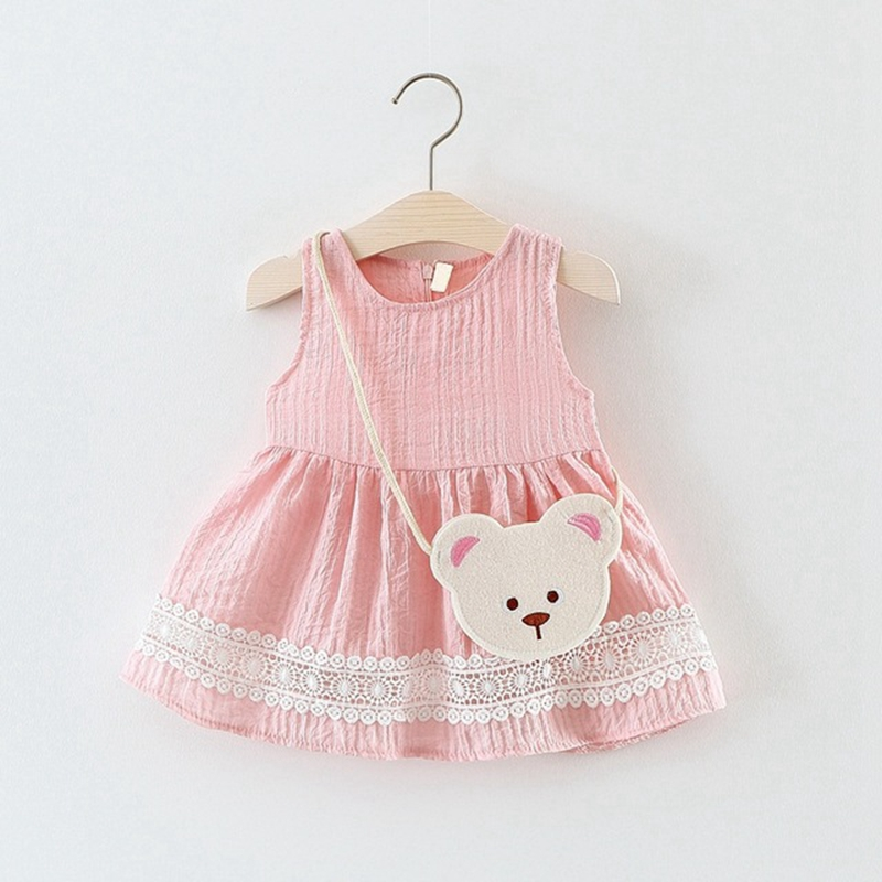 Baby Girls Summer Sleeveless O Neck Princess Party Sundress Kids Tutu Birthday Dress Cartoon Bear Bag