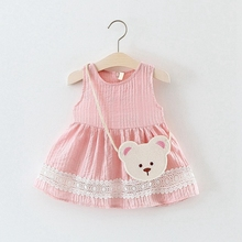 Baby Girls Summer Sleeveless O Neck Princess Party Sundress Kids Tutu Birthday Dress + Cartoon Bear Bag vestidos
