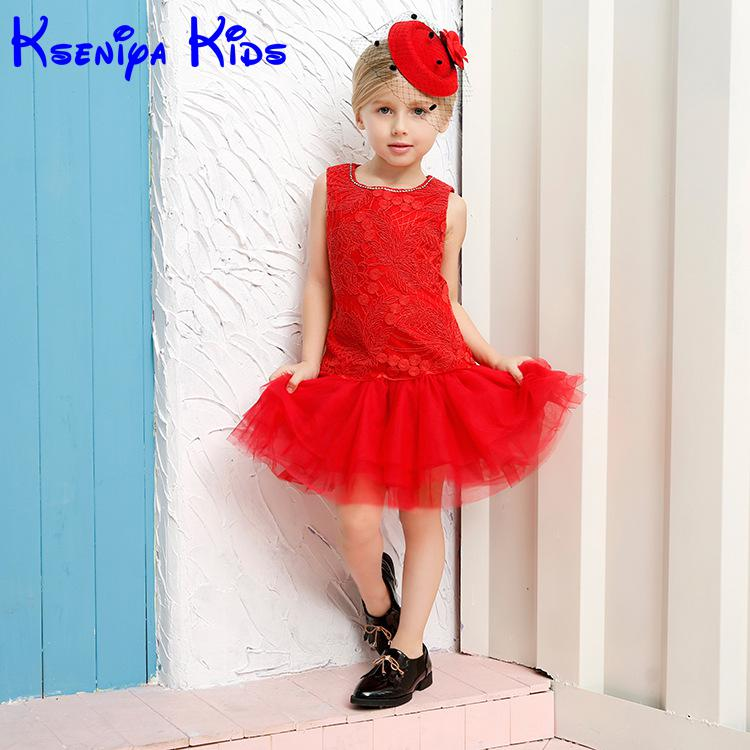 2016 Children Girls Red Embroider Dress With Lace Peplum Kids Dresses For Girls Evening Dresses American Princess Dresses 2-10y