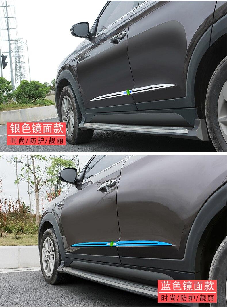 Pour 2015-2019 Hyundai Tucson haute qualité chrome porte latérale linng décoration corps moulage garniture lunette protecteur garniture