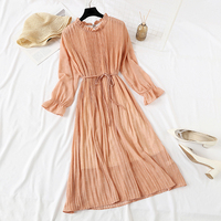 Women Long Dress 2019 Spring Summer Vintage Floral Print Pleated Chiffon Dress Long sleeve Loose Plus Size Dresses Vestidos