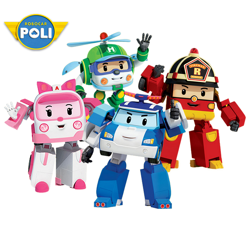 Kids Toys Action-Figure Poli Car Robot Anime Children Korea Boy for Gift 4pcs/Set