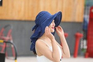 Image 2 - 太陽の帽子フェイスネック女性ソンブレロmujer veranoにワイドつば夏バイザーキャップ抗uv chapeu feminino屋外
