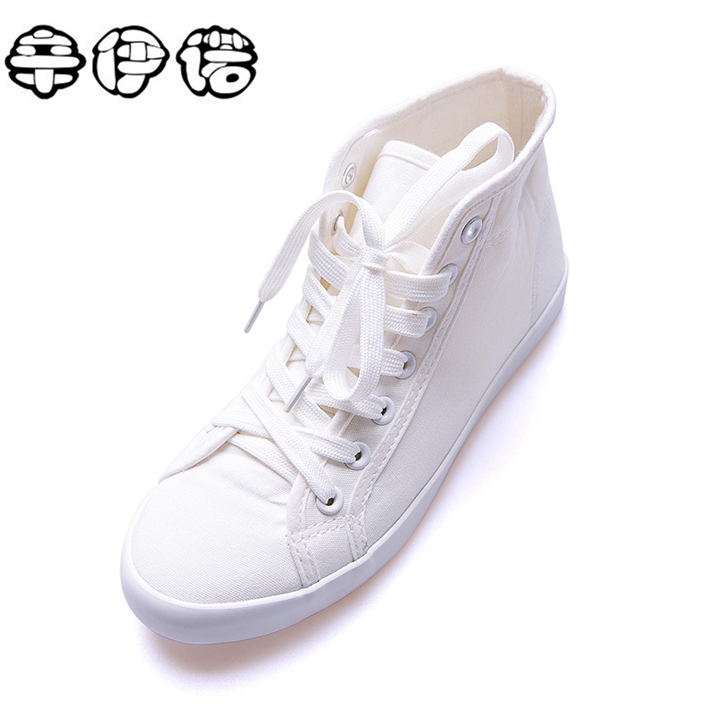 2017 New Spring/Autumn Women Casual Shoes Breathable Black High-top Lace-up Canvas Shoes Espadrilles Fashion White Women's Flats enmayer spring autumn white red black spring summer autumn fashion new men s women casual shoes flats shoes free shipping