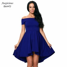 Summer Women Elegant Off Shoulder Sleeve Clothes High Low Skater Dress  Party Dresses e54c113f64a0