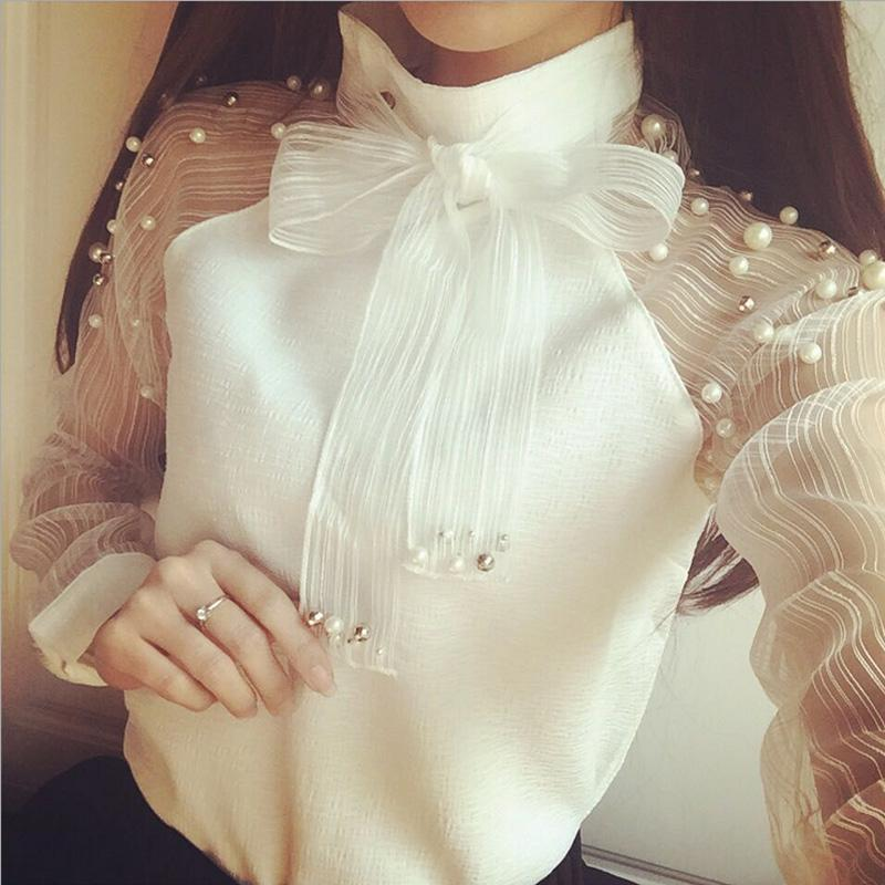 Fashion Women Ladies Casual Bow Pearl Long Sleeve Organza Blouse Chiffon Tops