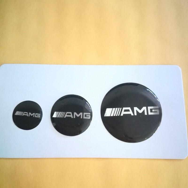 4 PCS Set 14mm 20mm 29mm Key Fob Emblem Badge Radio Button Multimedia Sticker For Benz
