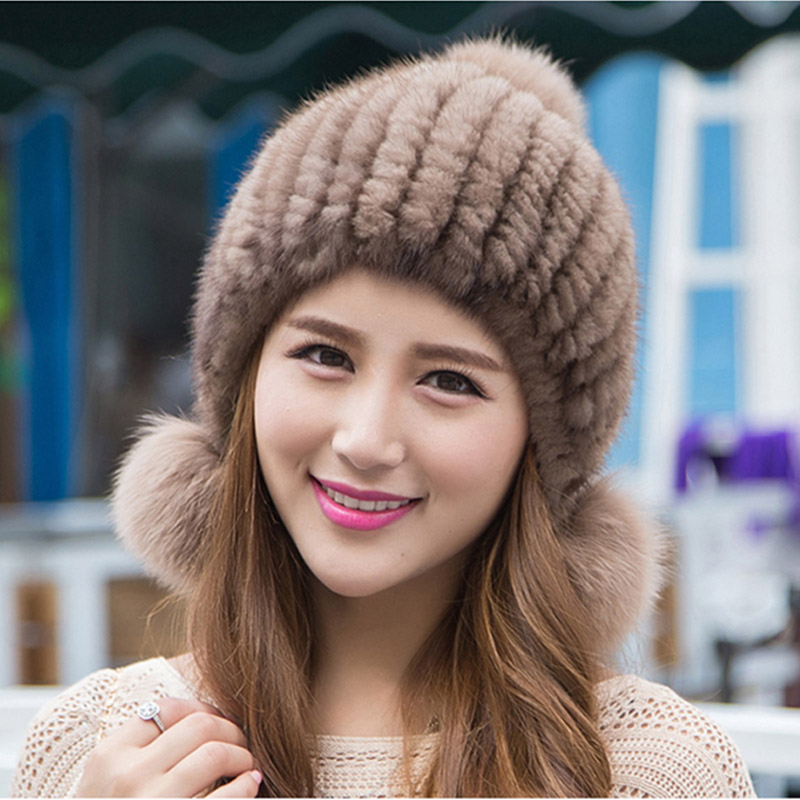 2016 real mink fur hat for women winter knitted mink fur beanies cap with fox fur pom poms brand new thick female cap real mink fur hat for women winter knitted mink fur beanies cap fox fur pom poms brand new thick female cap