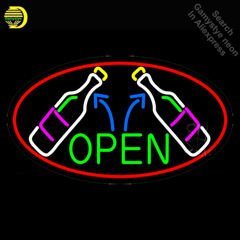 NEON SIGN For Open Wine Glass Bottles neon Light Sign Beer Club Advertise Window vintage Neon sign for sale neon light Art Lamps