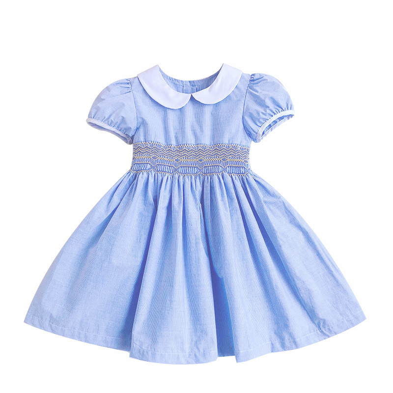 2019 summer dresses for Girl Smocked Dress kids girl embroidery blue Princess Wedding Party flower smocking Dress 3 4 5 6 7 82019 summer dresses for Girl Smocked Dress kids girl embroidery blue Princess Wedding Party flower smocking Dress 3 4 5 6 7 8