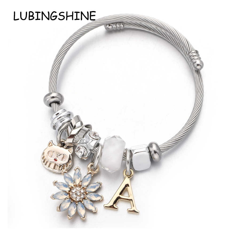 Women Stainless Steel Letter Cat Flower Charms Bracelets Rhinestones Open Adjustable Cuff Wire Cable Bangles DIY Jewelry