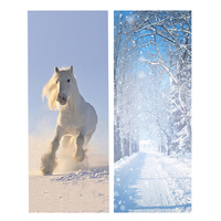 2pcs Set DIY 3D Door Stickers Snow Scenery Pattern Wallpapers PVC Waterproof Doors Poster For Bedroom