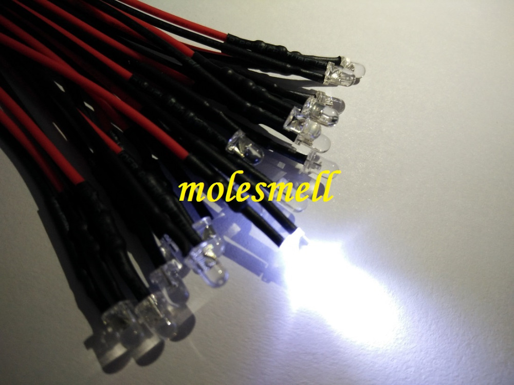 50pcs 3mm 12v Water Clear White Round LED Lamp Light Set Pre-Wired 3mm 12V DC Wired
