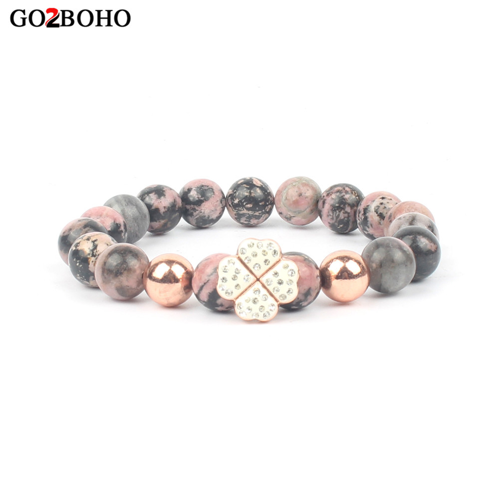 Go2boho Dropshipping 2018 New Natural Gem Stone Bangles Line Pulseira Femme Rhodonite Healing Beads Bracelets for Women Jewelry
