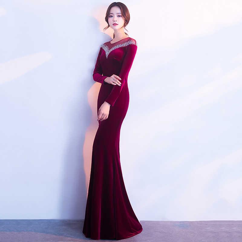 2ee464ccdd8 ... Corzzet Wine Red Velvet Full Sleeve Sexy Slim Long Mermaid Floor Length Dress  Gown Vestidos Celebrity ...