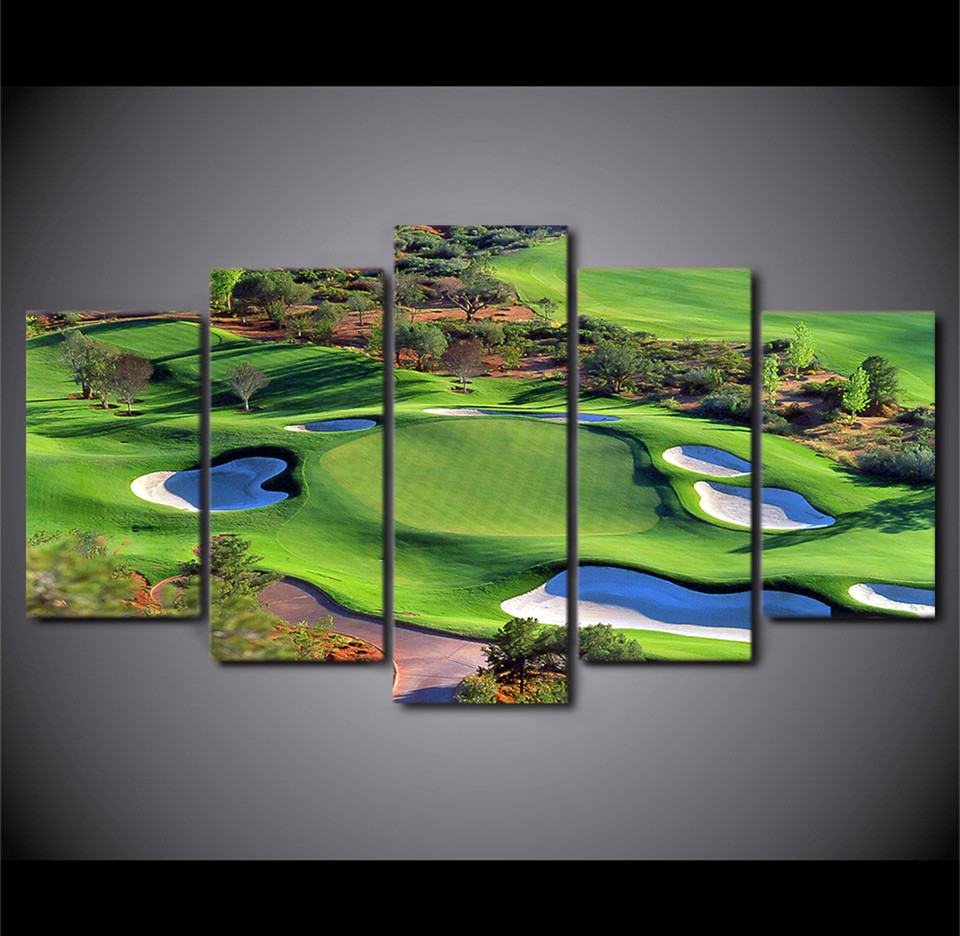 5Piece Canvas Art Green Golf Course Painting Top View Wall Art Movie Decorations HomePrintRoom Des Fr Decor Canvas Prints image