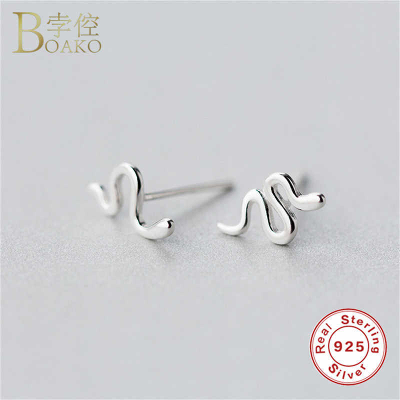 BOAKO подлинные серьги из стерлингового серебра 925 пробы для женщин скрученная спираль кольцо с пряжкой для ушей Защитная булавка/змея/Стрекоза/звезда серьги-гвоздики