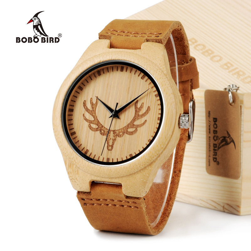 BOBO BIRD Bamboo Wood Watch For Lovers With Cow Leather Strap Quartz Analog Wooden Wristwatch