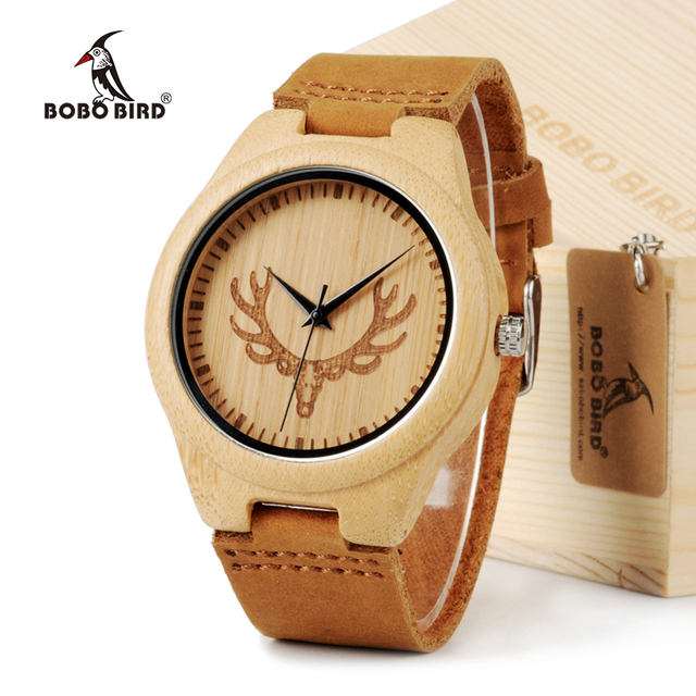 BOBO BIRD Bamboo Wood Watch for Lovers with Cow Leather Strap Quartz Analog Wood