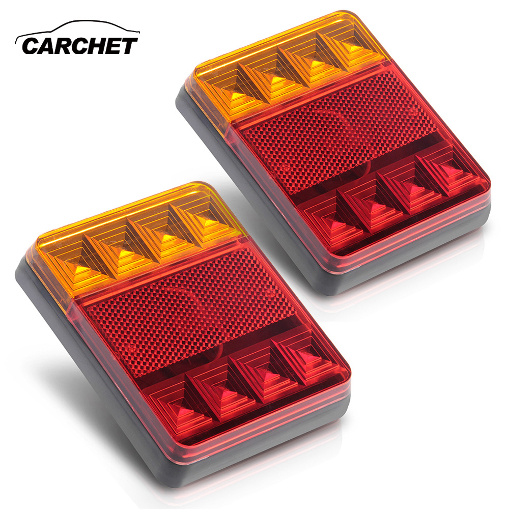 CARCHET 2 PCS/SET Waterproof 8 LED Taillight Tail Light Lamp DC12V for Trailer Truck Boat Car Tail Light 12V LED Tail Lights