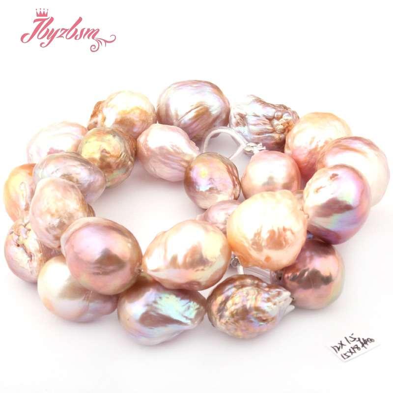 12x15 15x18mm Round Irregular Edison Reborn Large Freshwater Pearl Natural Stone Beads DIY Necklace Jewelry 14.5 Free Shipping