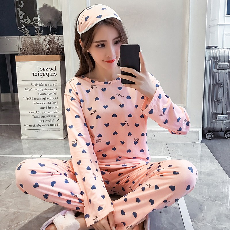 Womens Pajamas Sets Warm Long Sleeve Heart Pattern Large Size Girls Sleepwear Women's Pijamas Suit Home Clothes Pyjama Femme