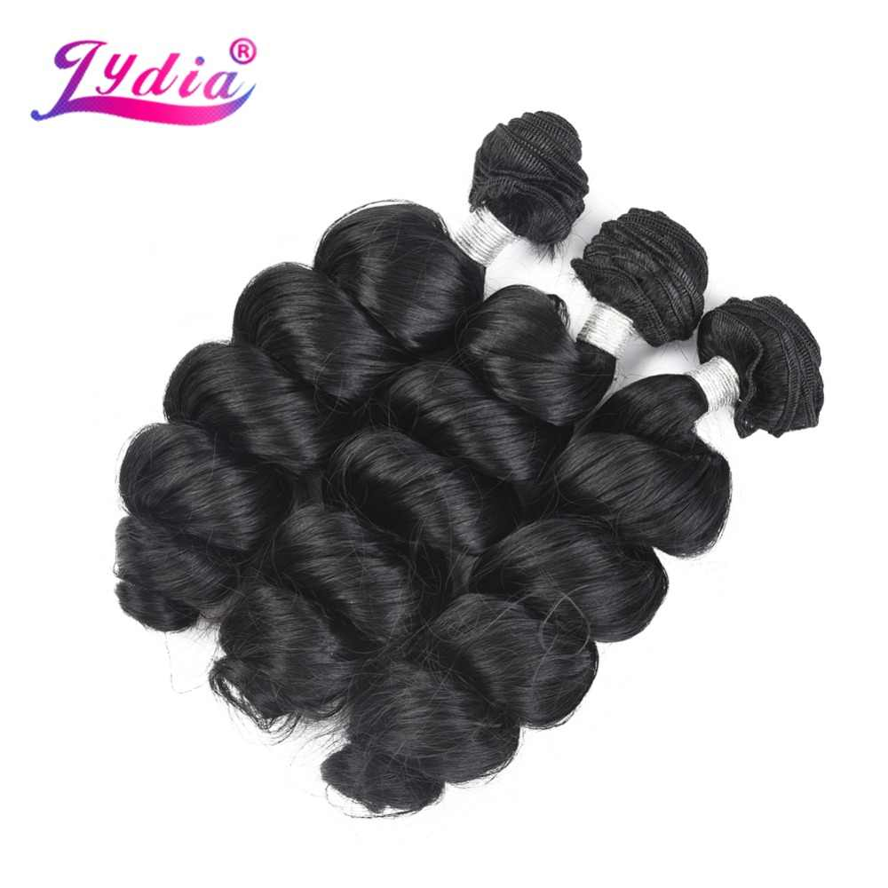 "Lydia 1PCS Loose Wave Hair Weaving Nature Black 1B# Hair Weave 18""-24"" Heat Resistant Synthetic Hair Extensions Bundles 110g/Pcs"