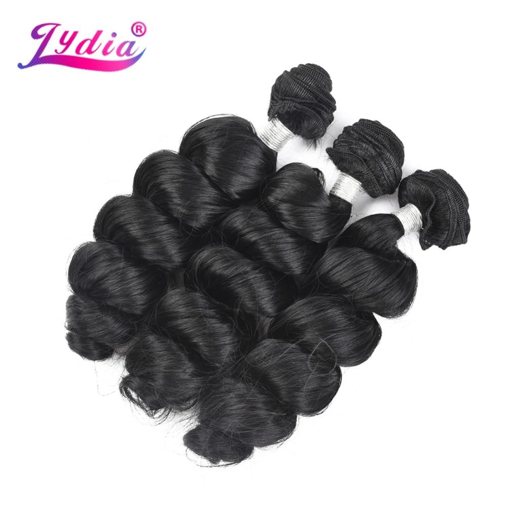 Lydia 1PCS Loose Wave Hair Weaving Nature Black 1B# Hair Weave 18
