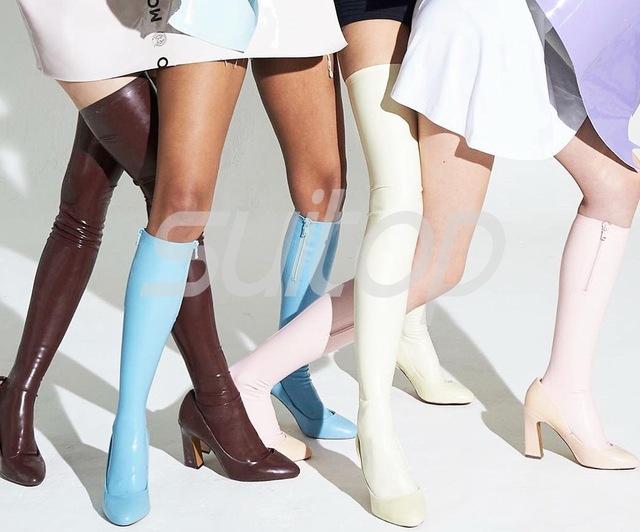 Calções meias de látex de borracha com dois zíperes Taylor made feito à mão