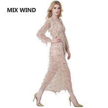 MIX WIND 2017 new Noble luxury sequins tassel deep v collar split sexy dress free shipping
