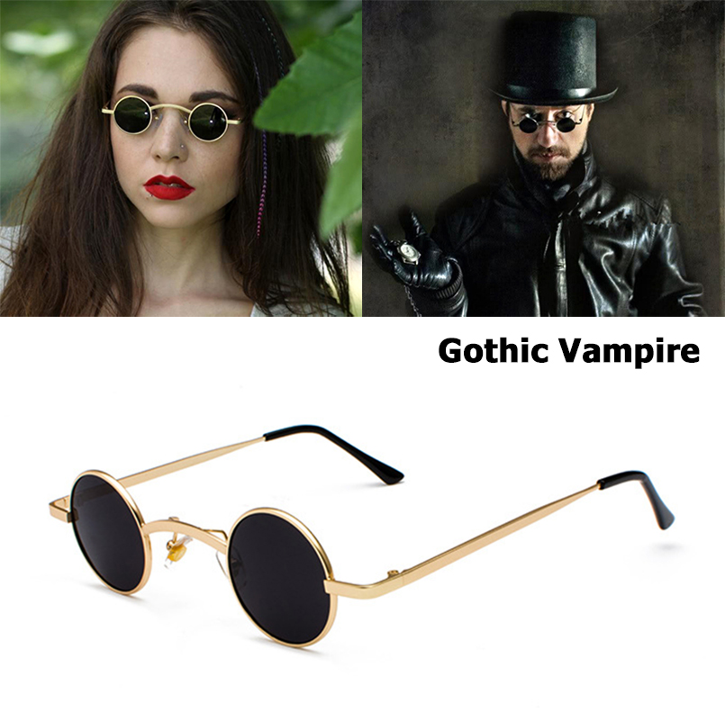 JackJad модные готические солнцезащитные очки в стиле вампира, стимпанк, рок, винтажные маленькие круглые брендовые дизайнерские солнцезащитн...