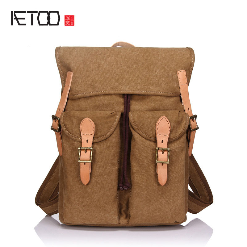 AETOO New retro canvas bag backpack shoulder bag head layer crazy cowhide fashion
