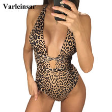 Deep V Neck Wrap Around One Piece Swimsuit Women Swimwear Female 2019 Bather Leopard High Cut Bathing Suit Swim Monokini V742(China)