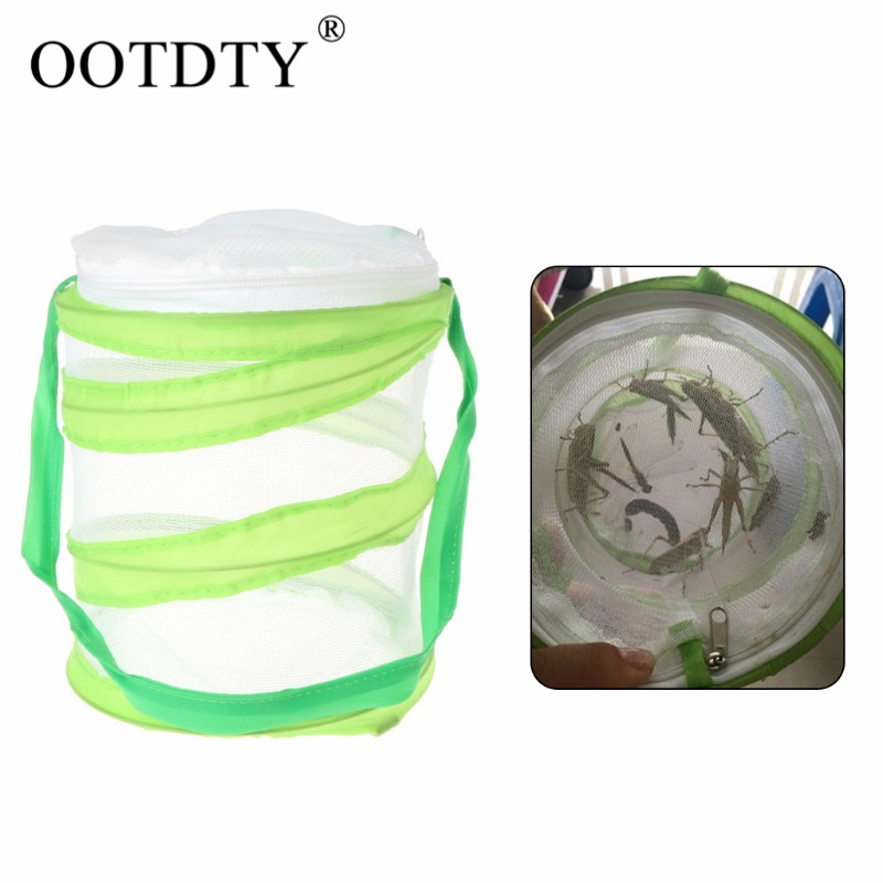 OOTDTY 1pc Insect Breeding Cages Net Cloth Butterfly Mantis Stick Praying Cylindrical Pop-up Cage
