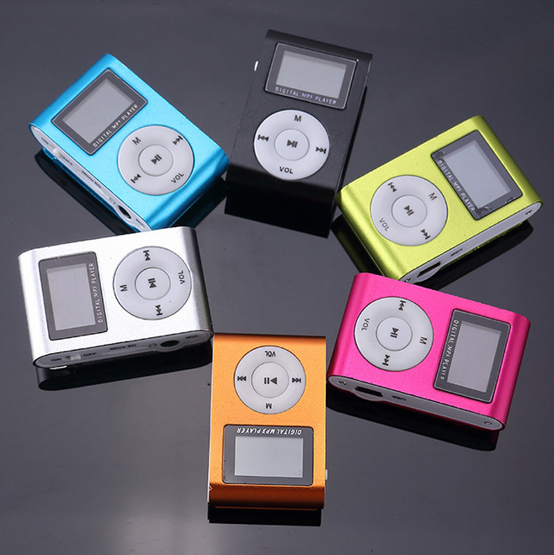 Fashion Screen Card MP3 Mini Metal Aluminum Clip Player Student Gift