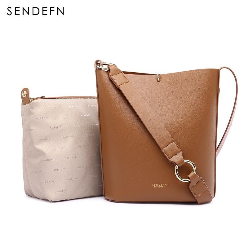 SENDEFN nowa torba kobieca 2018 nowy lato torebki duża pojemność torba na ramię kobiet wiadro skóra jej Crossbody torba Composite 7181  6 w Torebki na ramię od Bagaże i torby na  Grupa 1