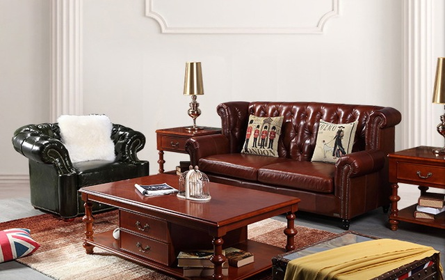 High Quality Cow Top Graded Real Genuine Leather Sofa/living Room Sofa  Furniture American Style