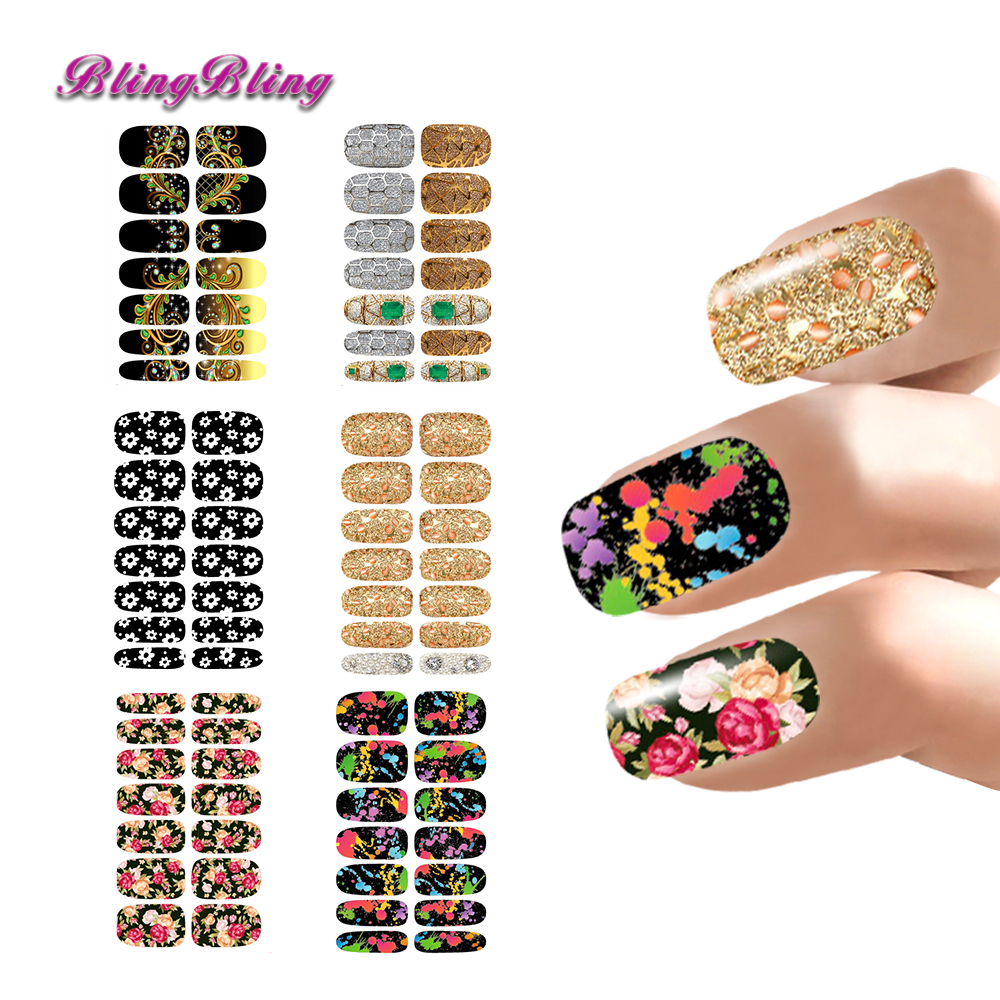 6 Sheet Nail Stickers Sets Flower Nail Decals Water Transfer ...