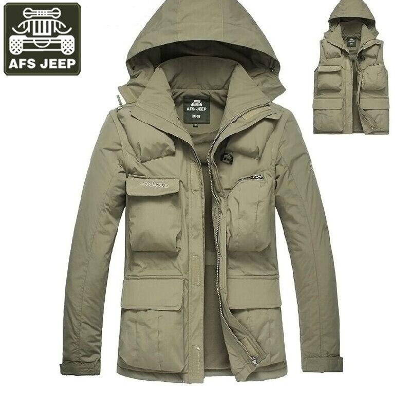 AFS JEEP Brand Clothing 2017 Jacket Men Winter Fleece Jacket Men Casual Hooded Collar Multi-pockets Mens Outerwear veste homme