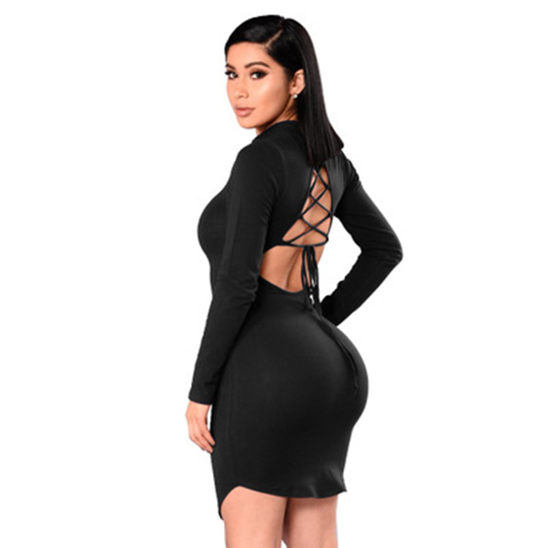 Sexy Backless Women Autumn Winter Dress Long Sleeve Skinny Hollow Out Female Mini Dress Empire Night Club Wear Vestidos