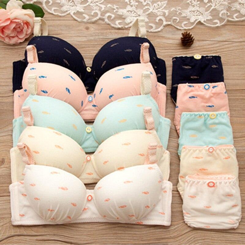 2018 fashion Japanese Kawaii Bras set for Girls Teenage Underwear Set Cotton Underwears Comfortable Children Bras Girl Underwear in Bras from Underwear Sleepwears